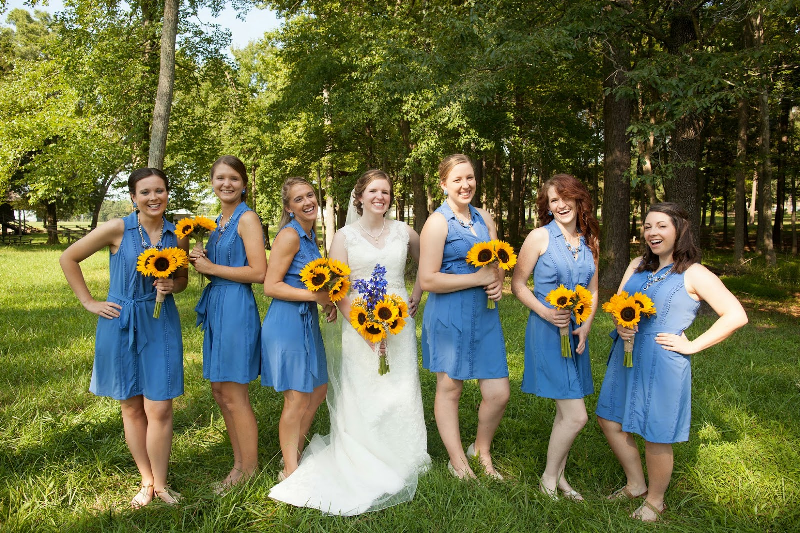 Bridesmaids with sunflowers