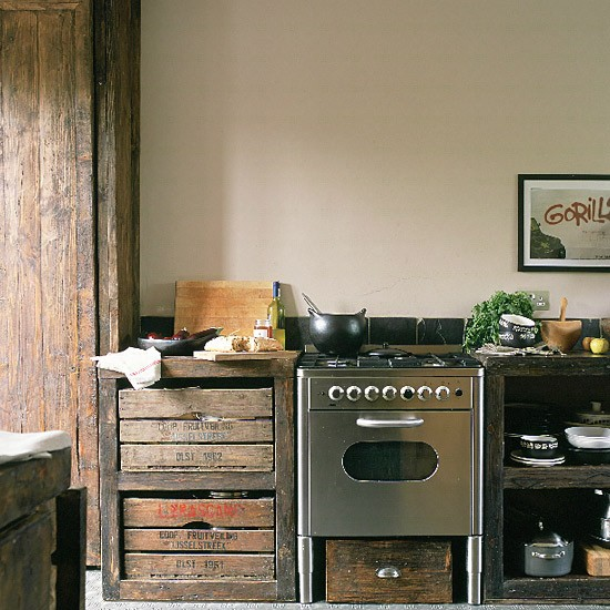 Dishfunctional designs vintage wood crates upcycled for Upcycled kitchen cabinets