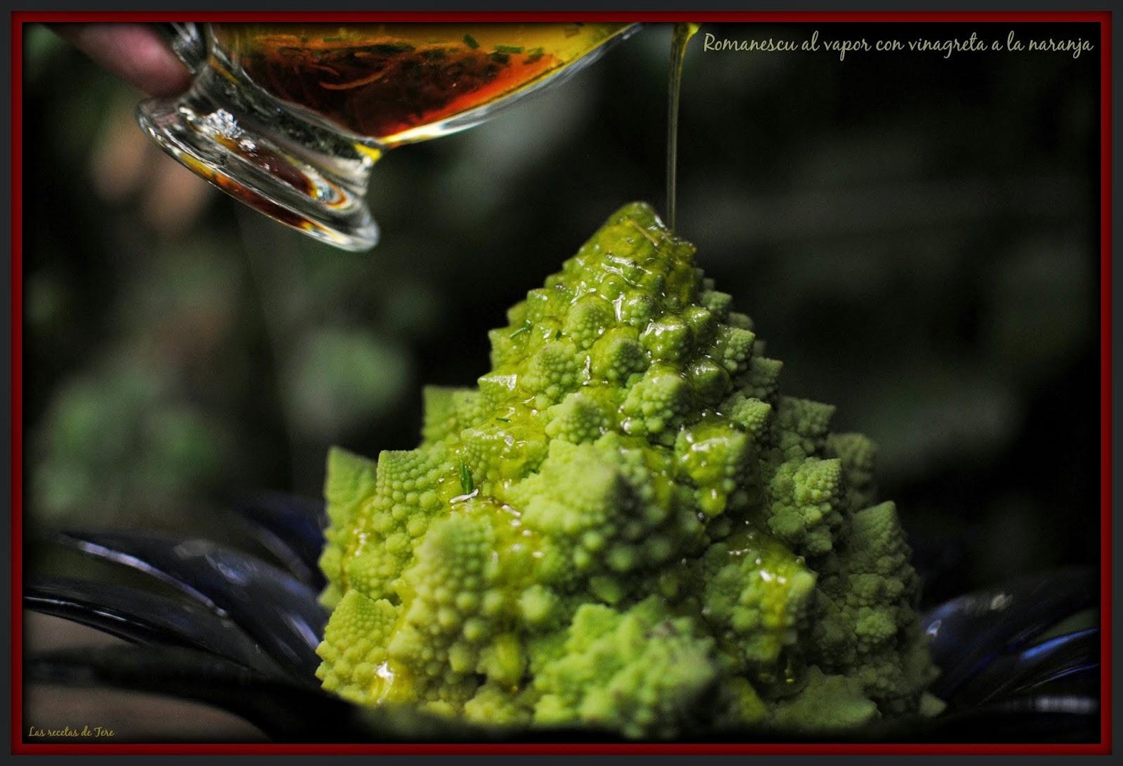 Romanescu al vapor con vinagreta a la naranja tererecetas 03