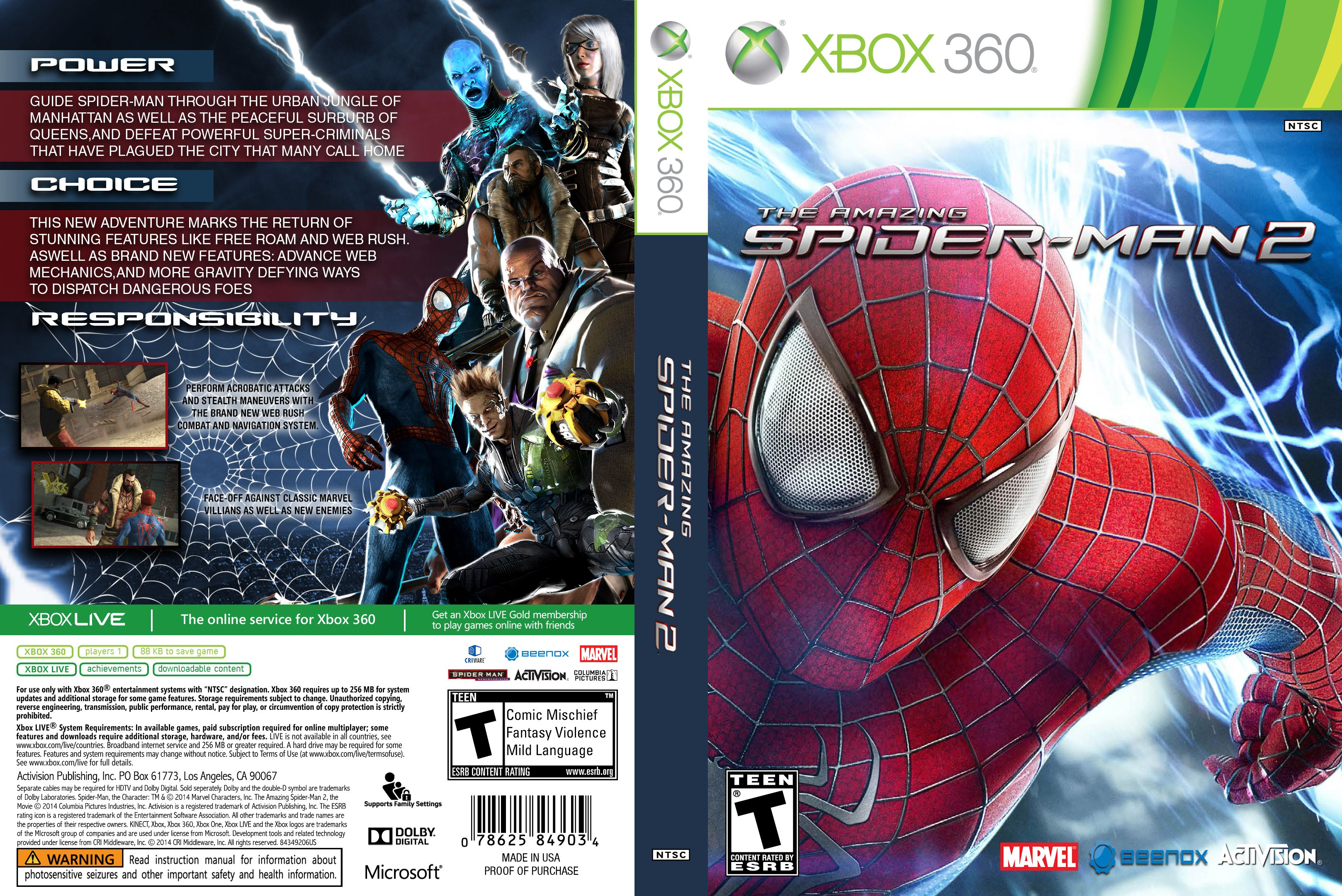 Capa The Amazing Spider-Man 2 Xbox 360