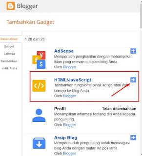 Tambahkan Gadget, Html/javasript