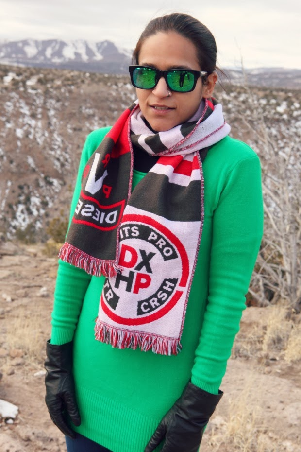 Green Sweater. J Brand Jeggings, Ecco Boots, Diesel Scarf, Tanvii.com