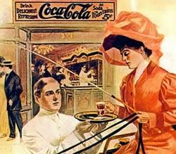 Propaganda da Coca-Cola em 1906 com uma elegante dama sendo servida por um garçom