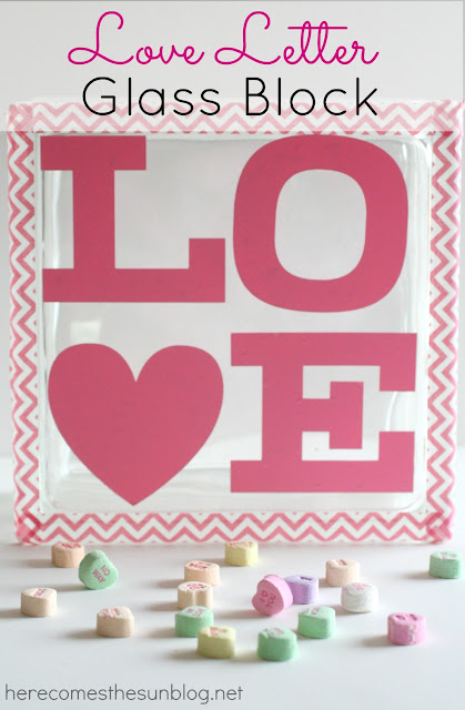 Love Letter Glass Block by herecomesthesunblog.net