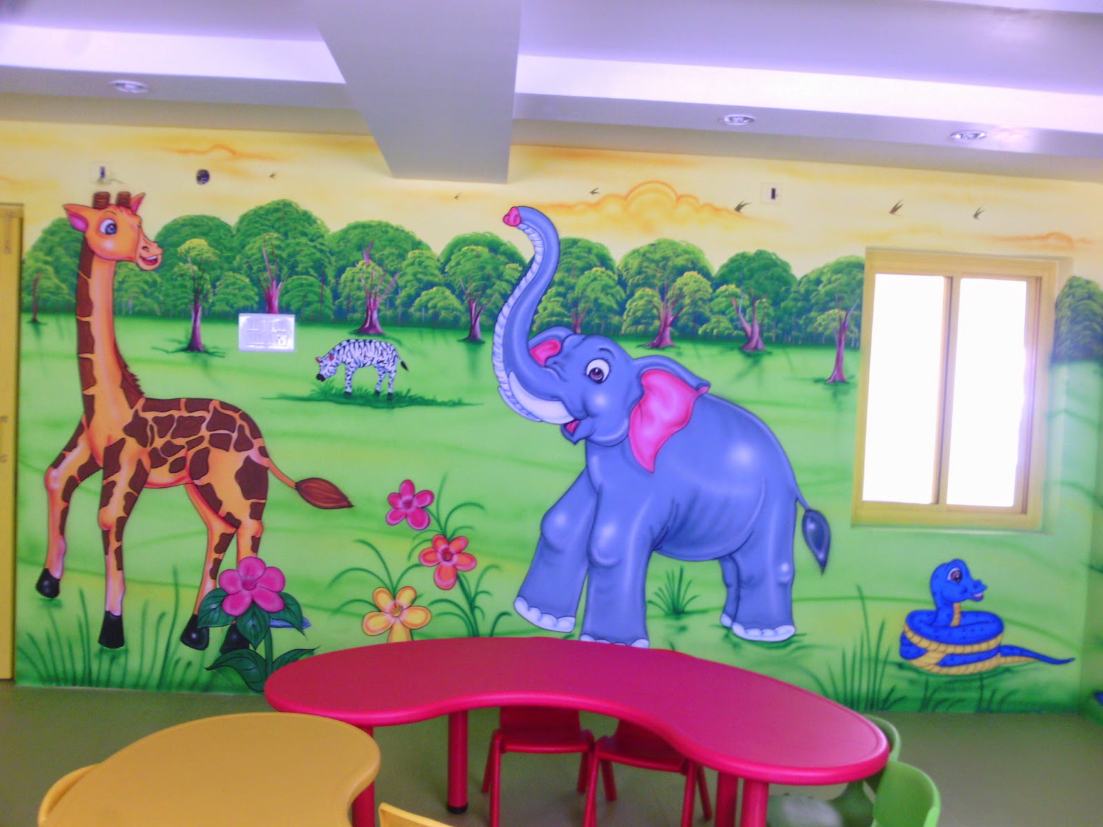 Wall Decoration In Play School : Play school wall painting d cartoon
