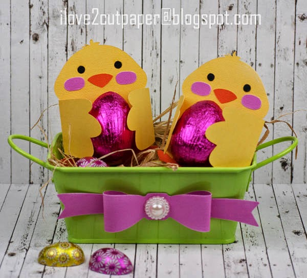 Chicks, Easter, cutting files, dimensional bow