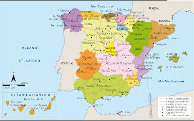 España política: provincias, comunidades autónomas y sus capitales.