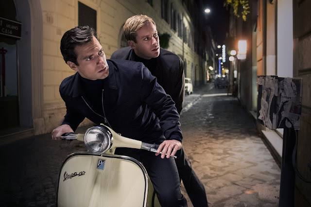 Henry Cavill Armie Hammer bike man from uncle still