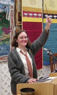 Cynthia Parkhill in Hogwarts cardigan at Unitarian Universalist Community of Lake County, Calif.