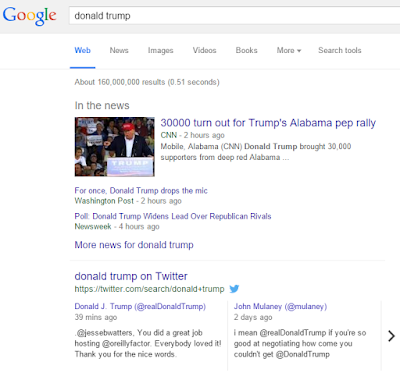 Google Search Donald Trump with Twitter Results