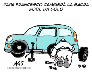 papa francesco, sacra rota, matrimonio, satira, vignetta
