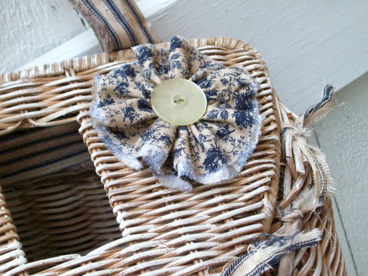 prairie style, vintage baskets, altered baskets, torn cotton ribbon, ticking