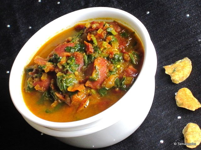 Moong Dal Wadi Palak Curry