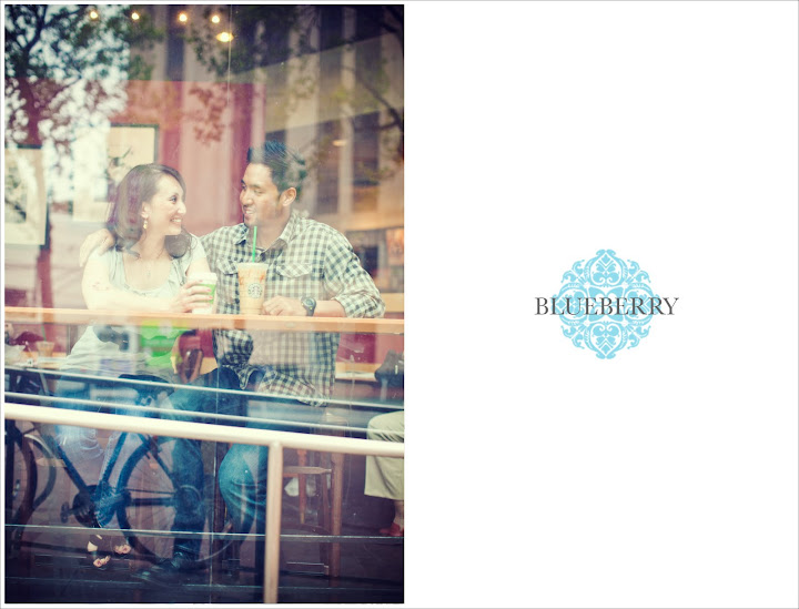 San Francisco starbucks coffee shop love with reflection on window engagement session photography