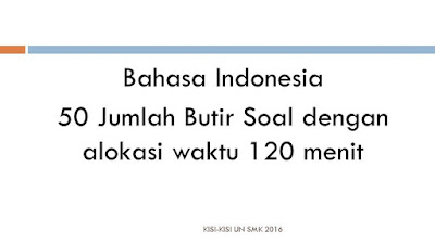Kisi-kisi UN SMK Jumlah Soal dan Waktu mapel indo
