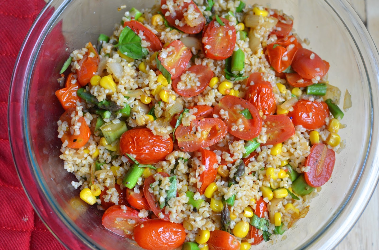 Playing with Flour: Farro with garlic-roasted tomatoes and edamame