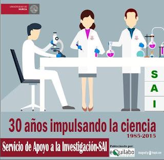 """1985-2015, 30 años impulsando la ciencia desde el """"SAI: Servicio de apoyo a la investigación""""."""