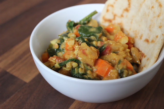 Veggie-Packed Red Lentil Dal | A Hoppy Medium