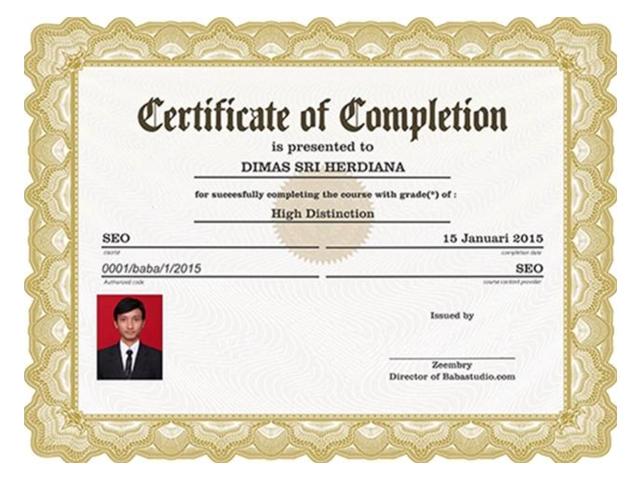 Sertifikat Kursus Online bagi yang dinyatakan lulus di Sekolah Pintar