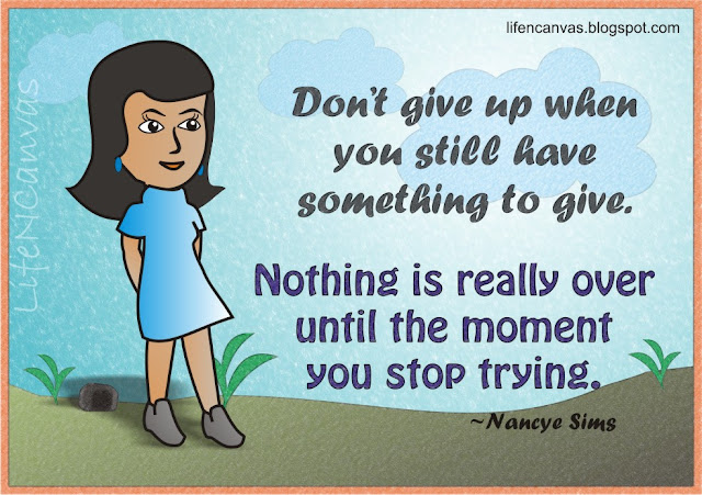 never give up cartoon