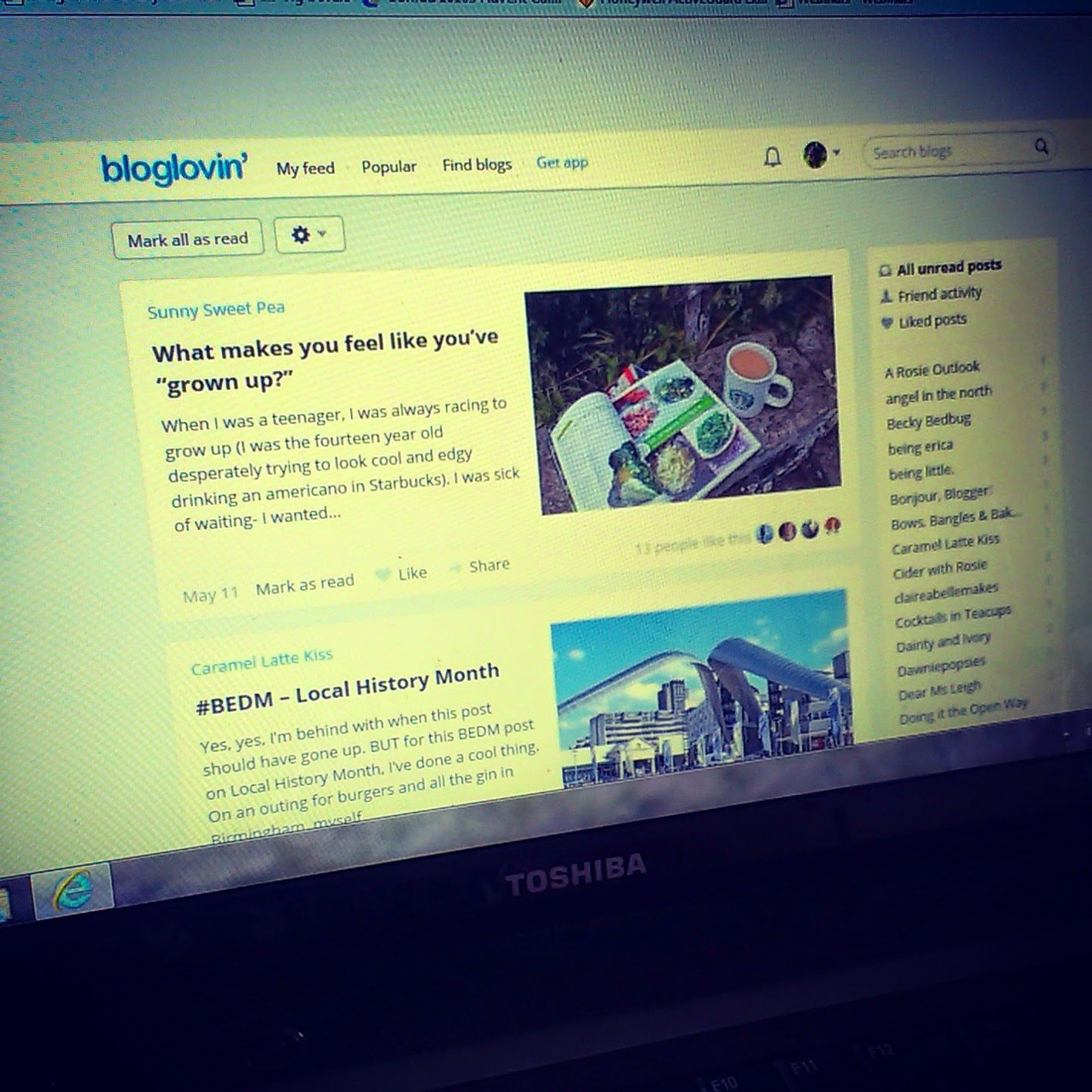 Bloglovin news feed