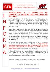 DENUNCIAMOS A LA INSPECCIÓN DE TRABAJO LA FALTA DE RECONOCIMIENTOS MEDICOS