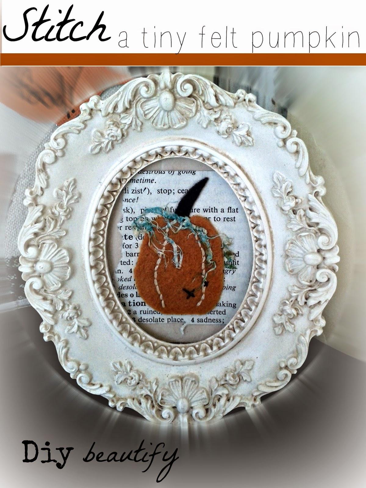 Stitch and frame a tiny pumpkin www.diybeautify.com
