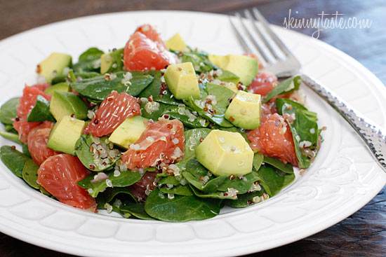 Spinach and Quinoa Salad with Grapefruit and Avocado | Skinnytaste