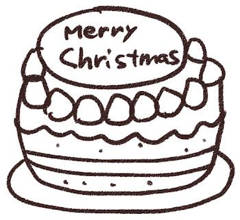 クリスマスケーキのイラスト「苺ケーキ」 白黒線画