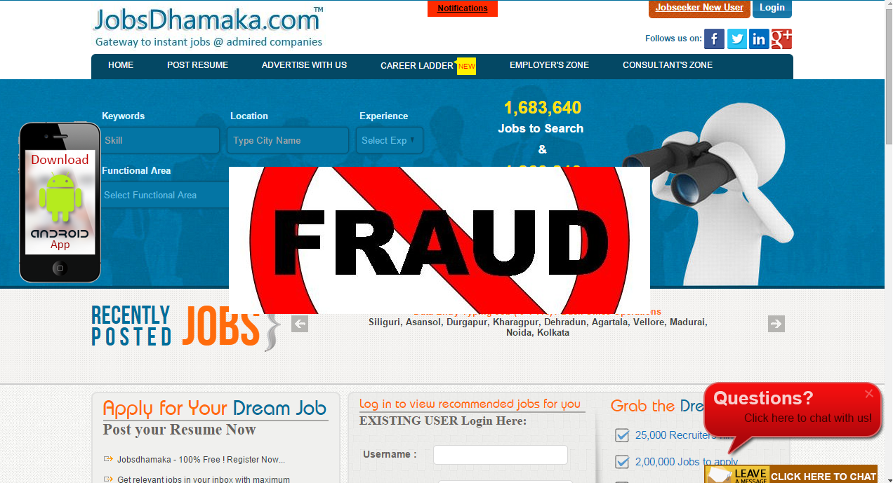 frauds and cheat done by jobs dhamaka com careerladder com eye jobs dhamaka com