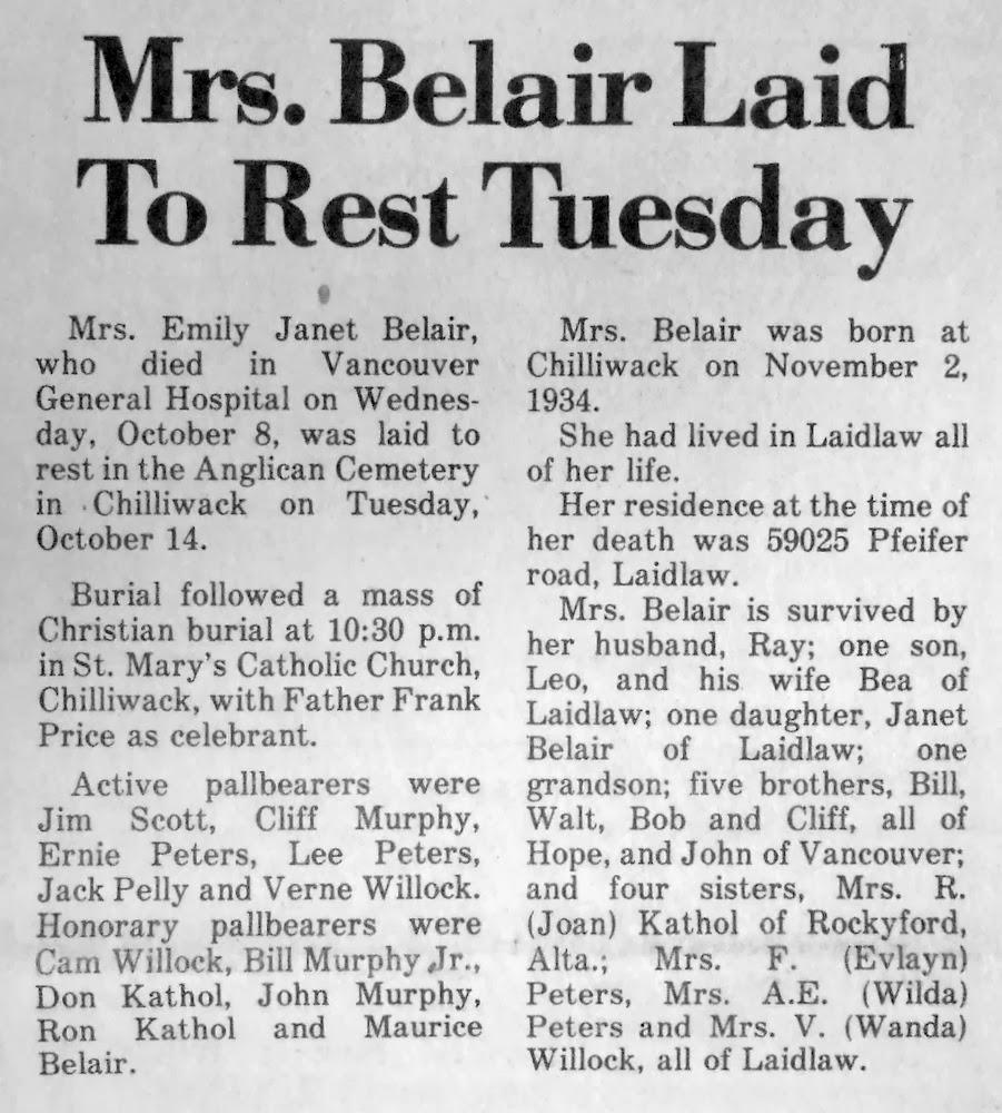 Emily Belair obituary