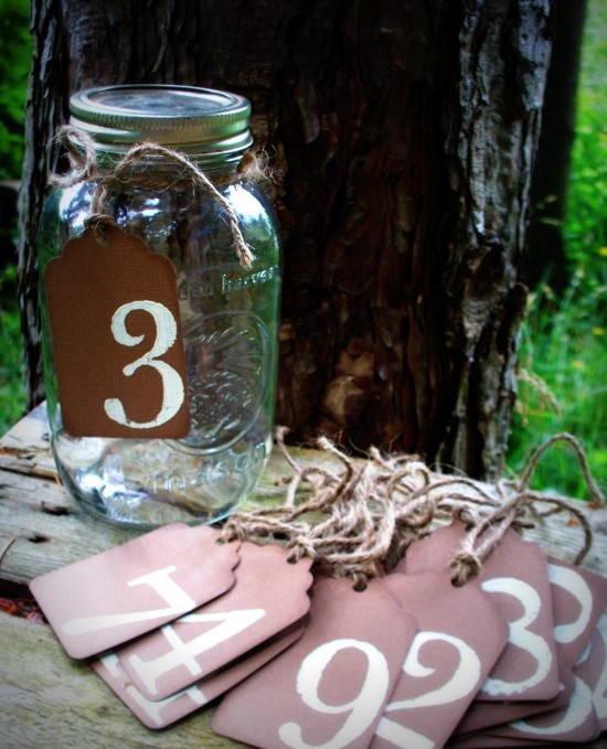 Mason Jar Wedding Ideas - Table Numbers 01