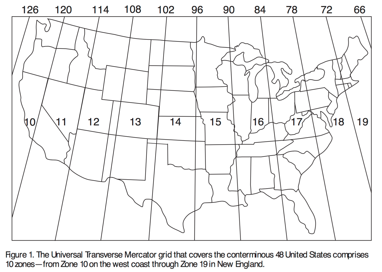 figure 1 the utm zones for the lower 48 u s states i used utm zone 15n to create my reference map