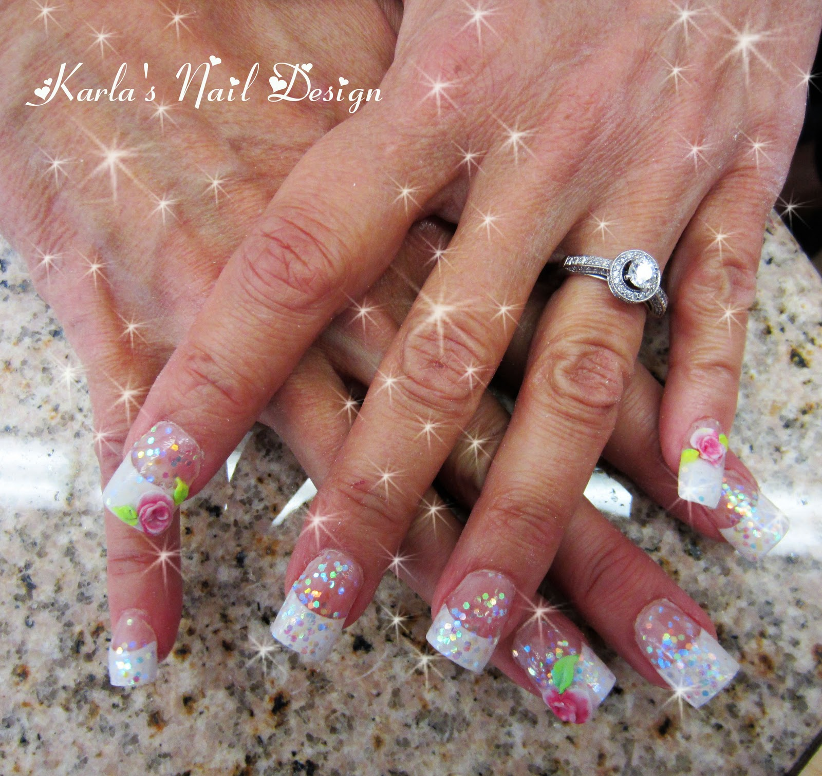 White tip nail designs pccala did acrylic nails with white tips on classmate karen hinson topped it prinsesfo Images