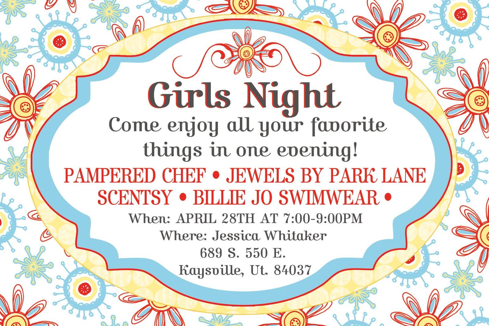 Wistful moments girls night invite for Premier designs party invitations