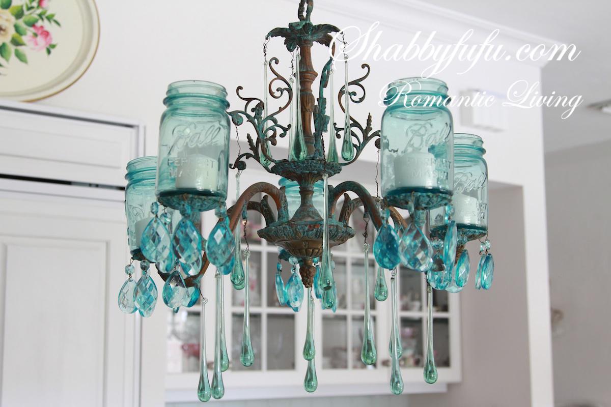 The original shabbyfufu blue mason jar chandelier for Chandelier craft ideas