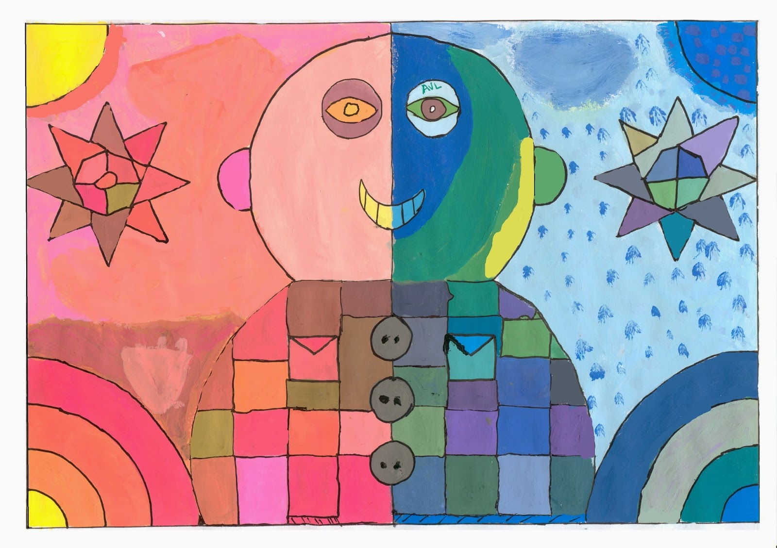 Dibujos pl stica 1 e s o adrian primer trimestre - Paisaje con colores calidos ...