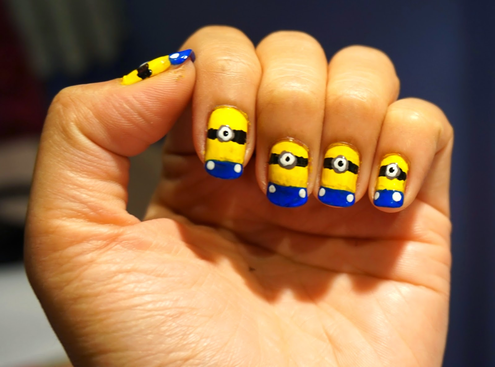 Nail art tutorial simple minion nails the beauty junkee prinsesfo Images