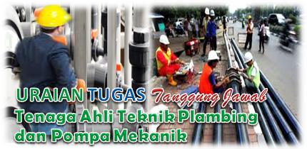 Uraian Tugas Dan Tanggung Jawab Tenaga Ahli Teknik Plambing dan Pompa Mekanik