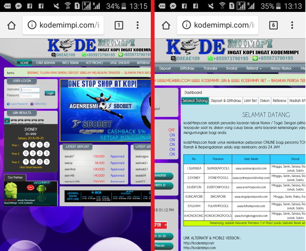TIPS JIKA KESULITAN MEMBETING ATAU SUSAH LOGIN PADA WEB KODEMIMPI VIA HANDPHONE