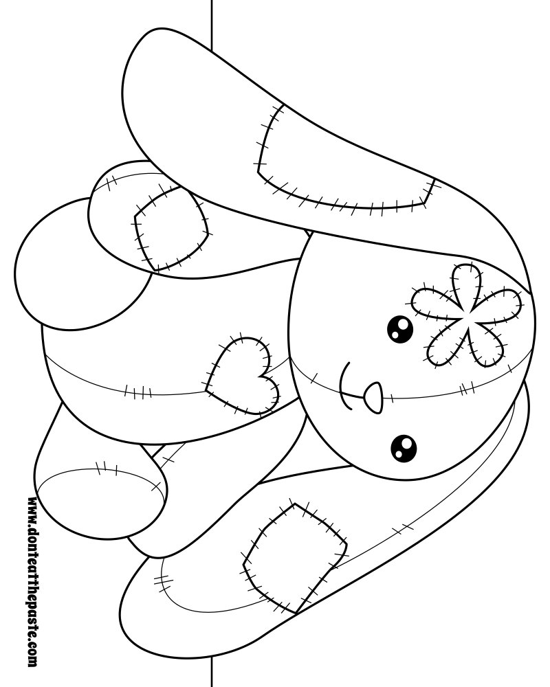 Patchwork bunny to color. Also available in transparent png #coloring #zentangle