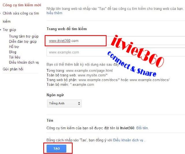 Tùy chỉnh trang Web tìm kiếm google custom search