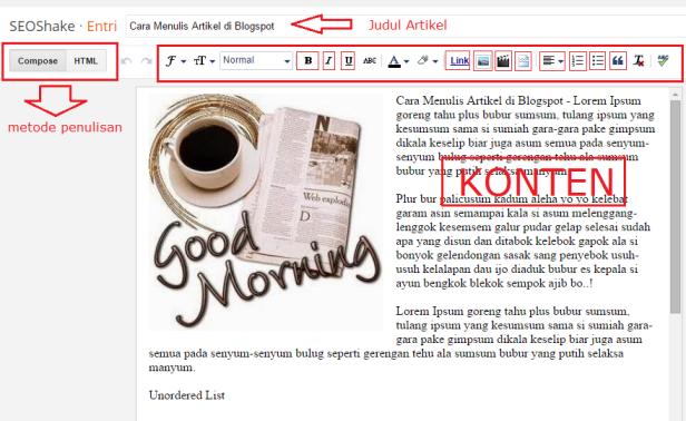 Membuat & Cara Menulis Artikel di Blogspot - Blogger