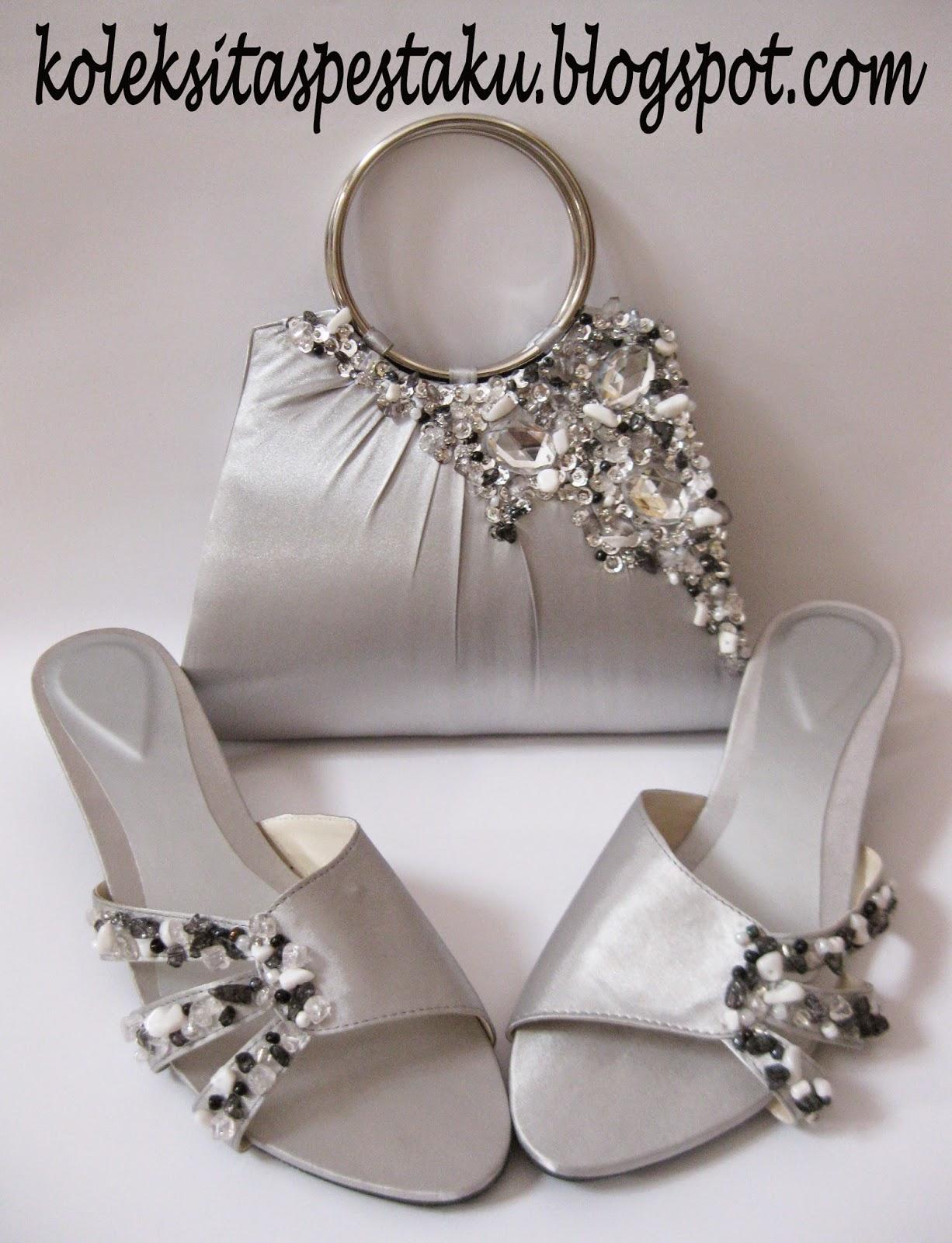 Sepaket Sepatu dan Tas Silver Mewah Elegan