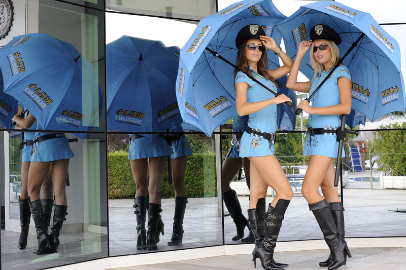 Umbrella Girls from the grid of MotoGP