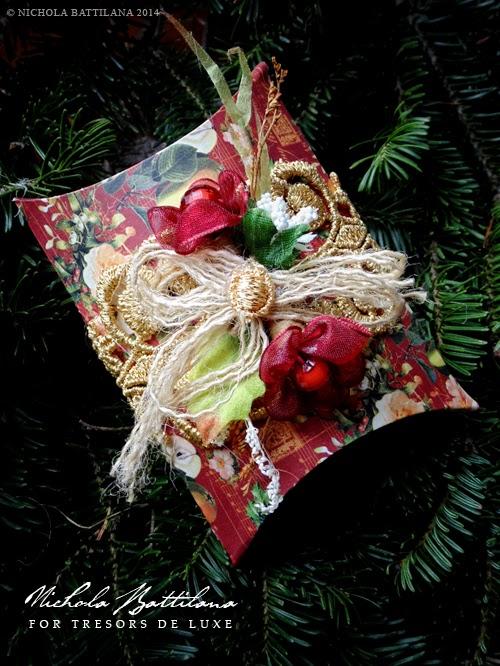 Pillow Boxes by Nichola Battilana with Graphic 45 paper & Tresors de Luxe embellishments
