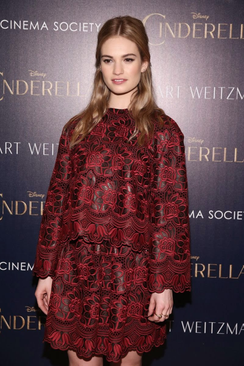 Actress @ Lily James At Ciderella Screening In New York