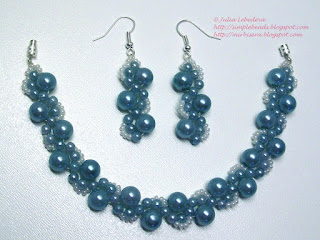 Beaded bracelet and earrings in marine blue colors