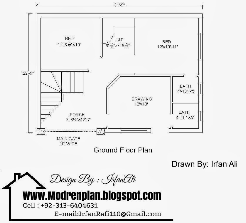 "marla house Plan,3 marla house map,31'-9""× 22'-9"" House Plan"
