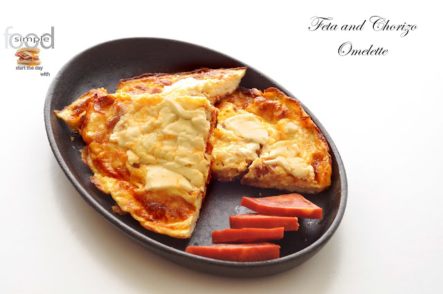 Feta and Chorizo Omelette ~ Simple Food
